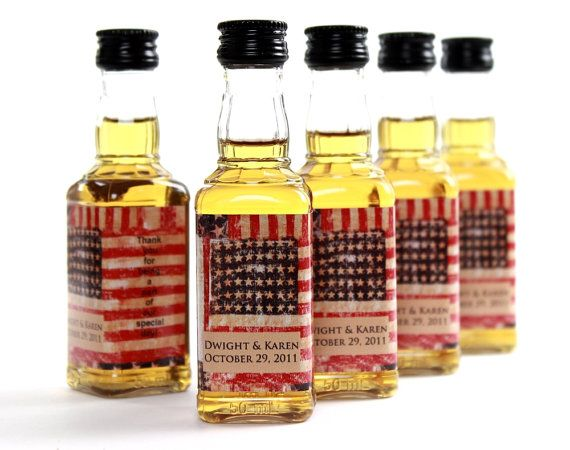 Custom Wedding Favor American Flag Mini Liquor Bottle Labels // Set ...