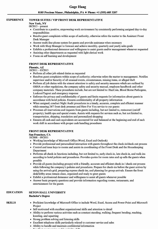 Front Desk associate Resume Inspirational Front Desk
