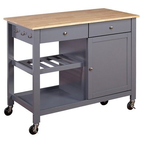 columbus kitchen cart with wood top gray target 260 43 long - Kitchen Cart Target