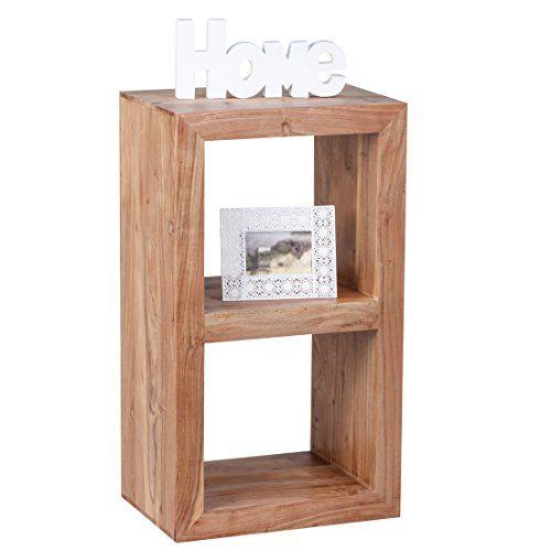 WOHNLING Standregal Massivholz Akazie 88 Cm Hoch 2 Boden Design Holz Regal Naturprodukt Beistelltisch Landhaus