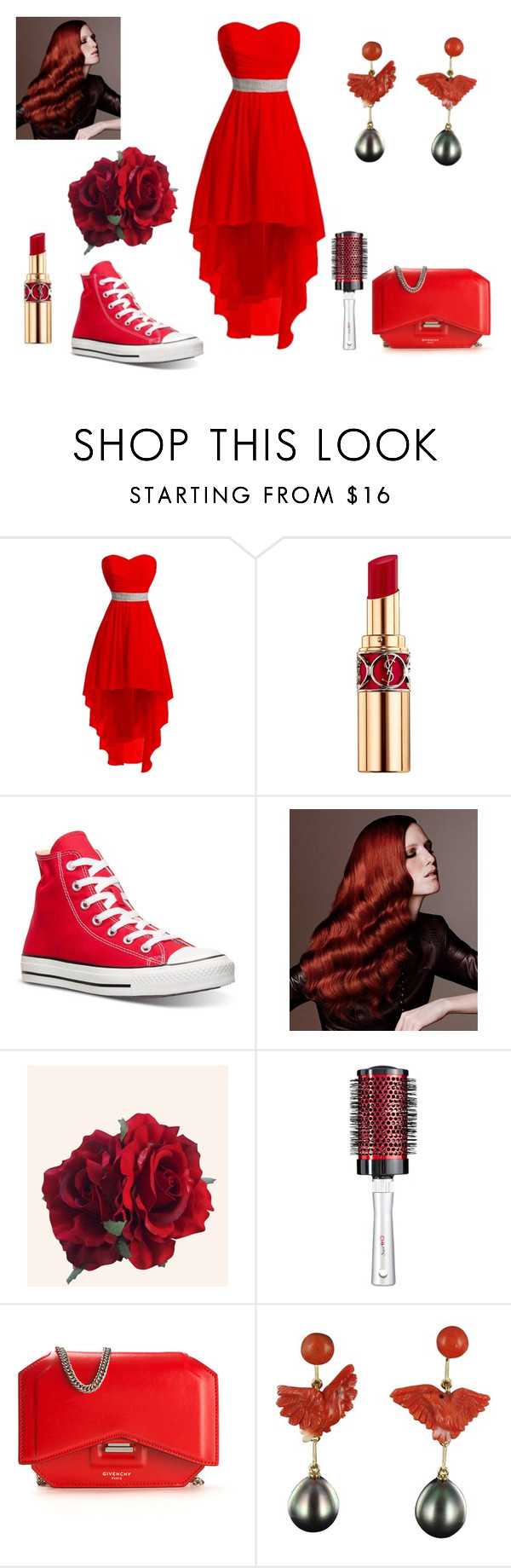 """Red Obbsession"" by nialls-wife1 on Polyvore featuring Yves Saint Laurent, Converse and Givenchy"