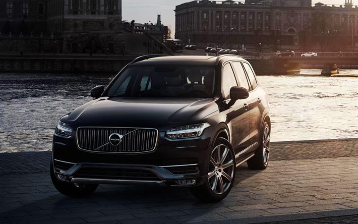 Lataa kuva Volvo XC90, 4k, 2018, musta XC90, uusia autoja, ylellisyyttä Katumaasturit, Ruotsin autot, Volvo