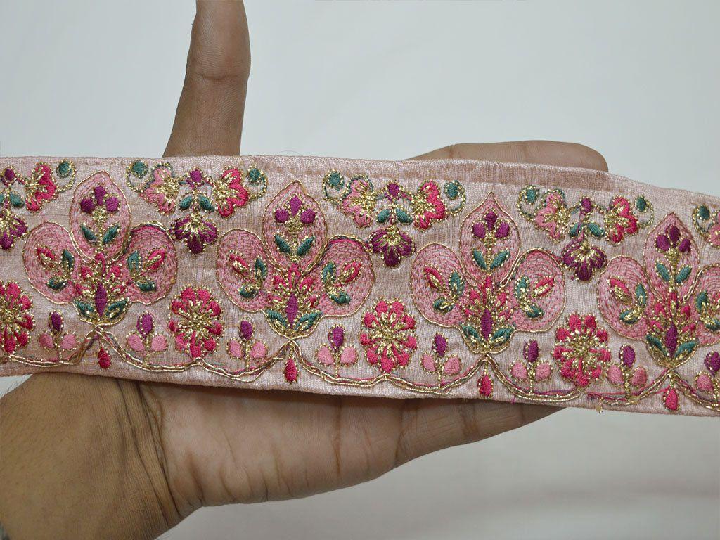 Pink Embroidery Saree Border Fabric Trim By The Yard Indian Laces Sari Ribbon Wedding Crafting Sewing Trimmings Cushio Sewing Trim Fabric Trim Embroidery Saree