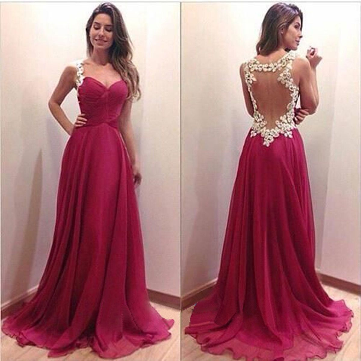 Junior Formal See Through Back Sweet Heart A Line Cheap Long Prom