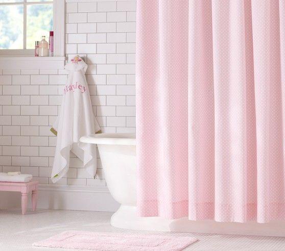 Mini Dot Shower Curtain Kids Shower Curtain Pink Bathroom Decor Shower Curtain