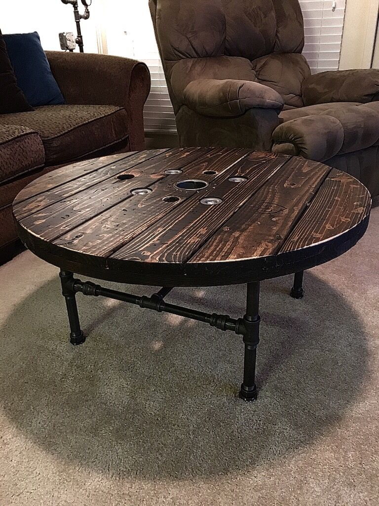Here\'s a coffee table I made from a recycled wood spool, the base is ...