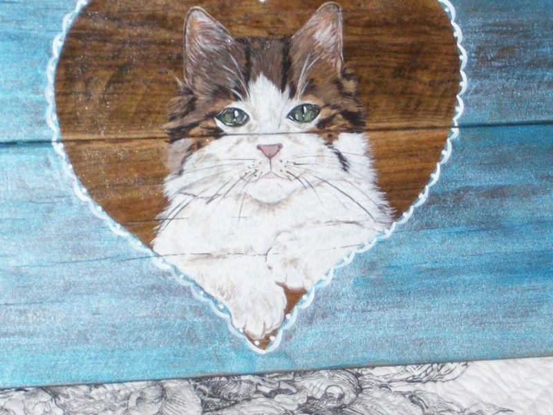planche peinte : CHAT dans le coeur - animaux - l-atelier-de-campagne - Fait Maison