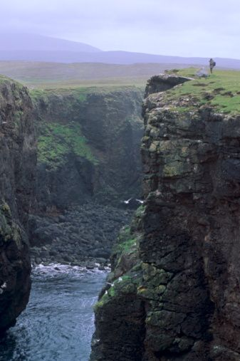 Eshaness basalt cliffs, Calder's Geo, ancient volcanic crater, coast deeply eroded with caves, blowholes and stacks, Northmavine, Shetland Islands, Scotland. #shetlandislands
