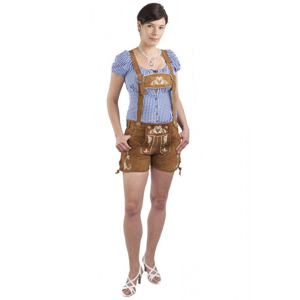 Original kaufen kaufen Bestbewertet authentisch Damen Trachten Lederhose Kolibri kurz in hellbraun von ...