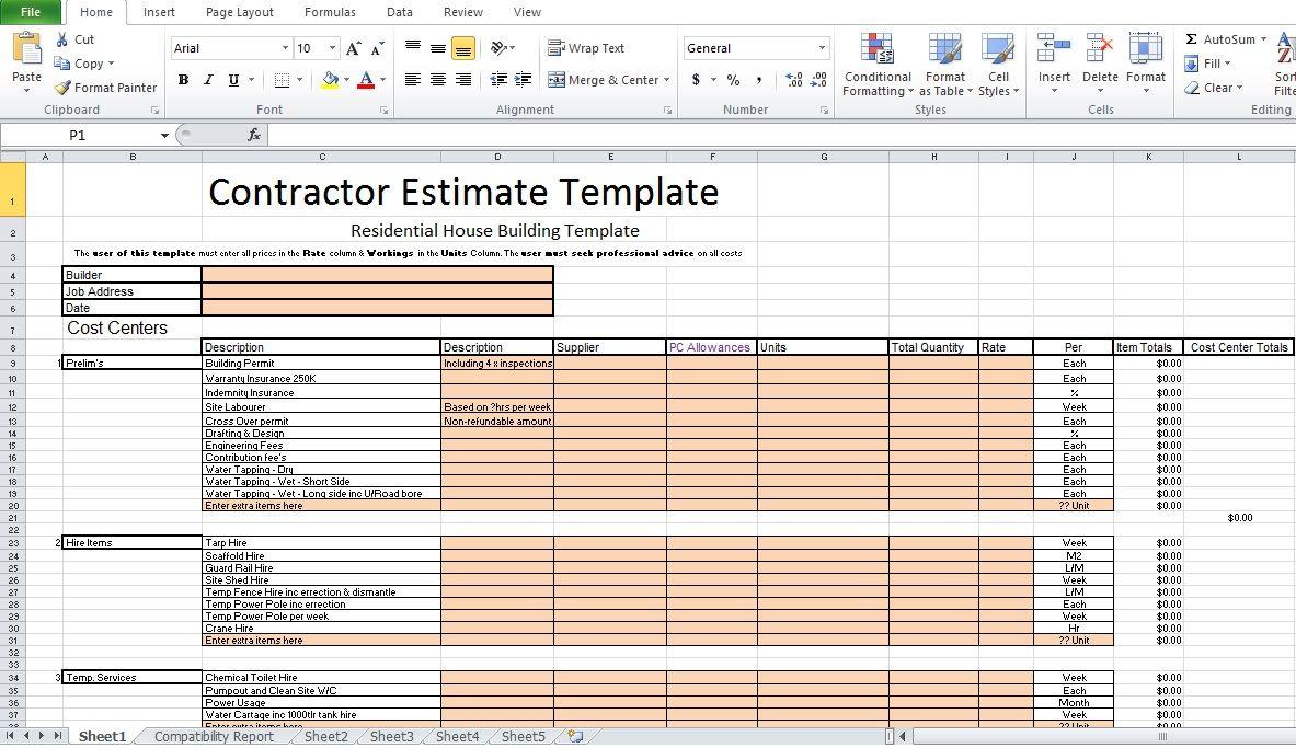 Free Contractor Estimate Template Excel Excel Tmp Estimate Template Construction Repair Construction Estimate Template Contractor estimate template free download