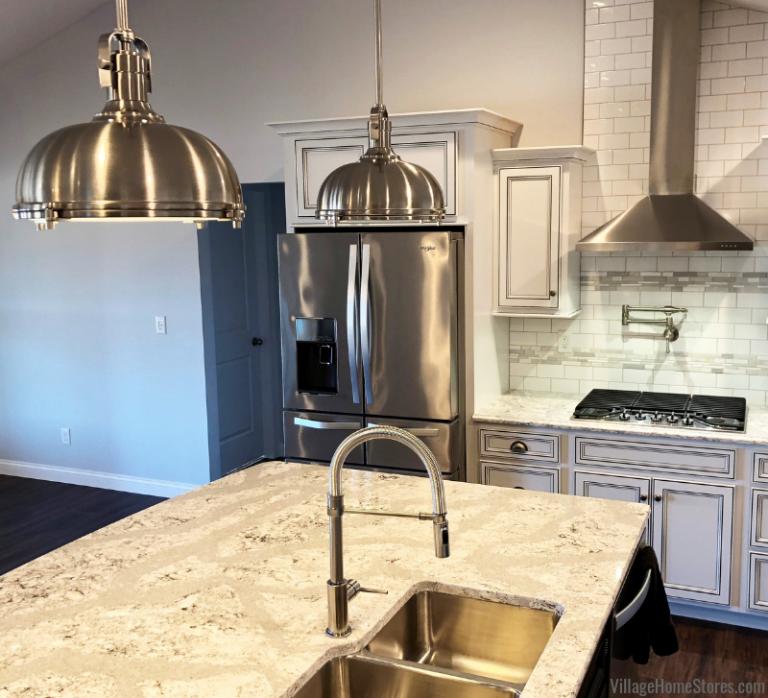 New Home White Kitchen with Black Island Kitchen design