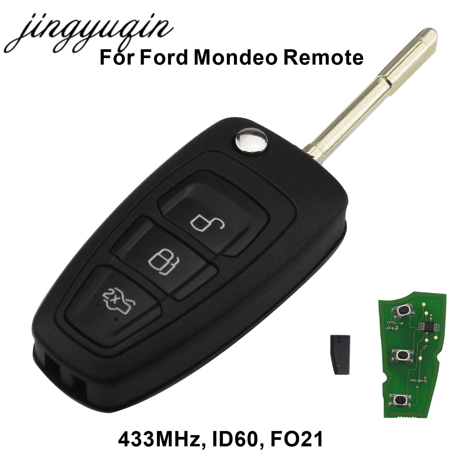 Jingyuqin 3 Buttons Flip Remote Key Fob Chip 4d60 Id63 For Ford Focus Mk1 Mondeo Transit Connect 433mhz Key Fob Remote Ford Mondeo