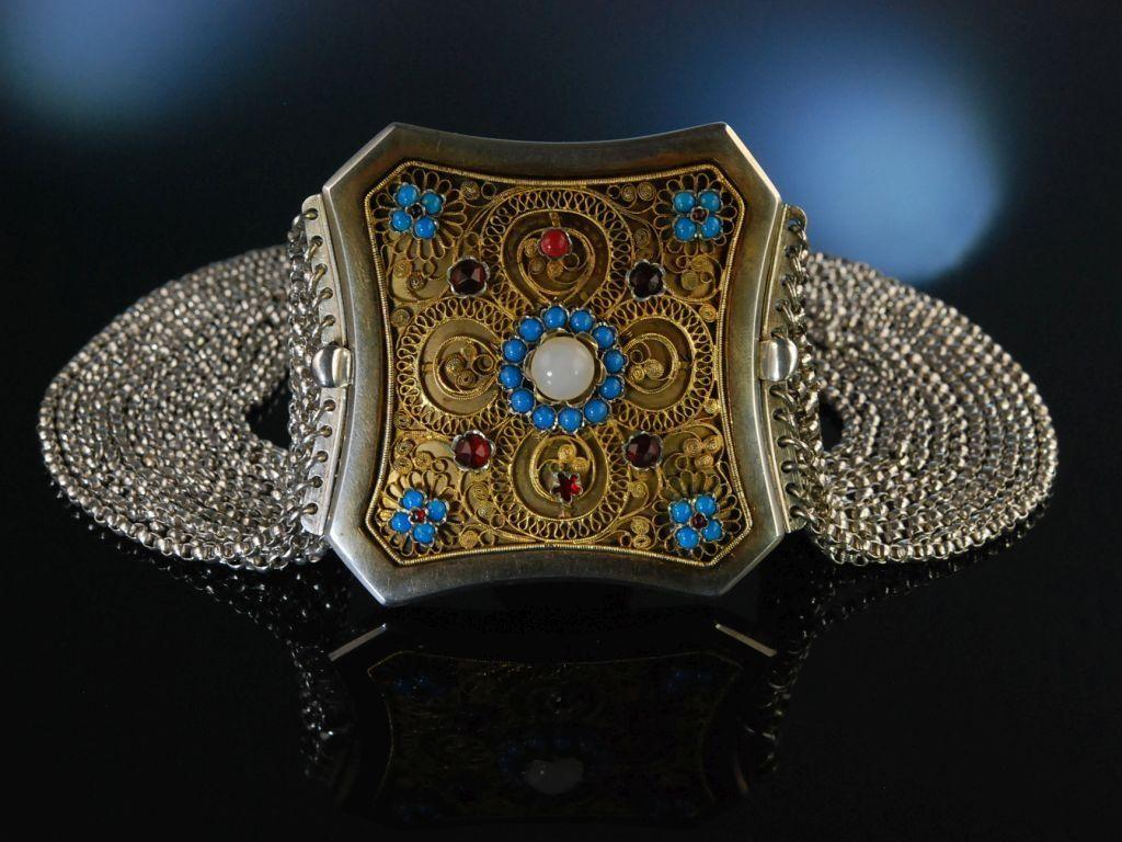 Antique Bavarian Necklace! Kropfkette Trachten Collier Silber München um 1861 12 reihig, bayerischer Schmuck, traditioneller Trachtenschmuck bei Die Halsbandaffaire