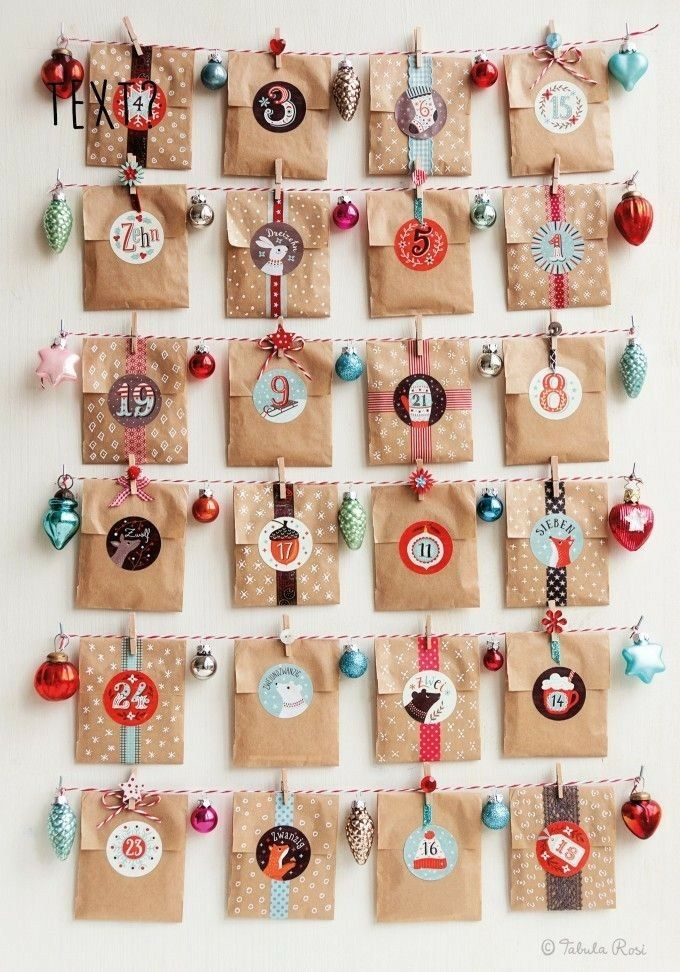 brown tiny bags or envelopes. Themed number stickers. #calendrierdelaventdiy