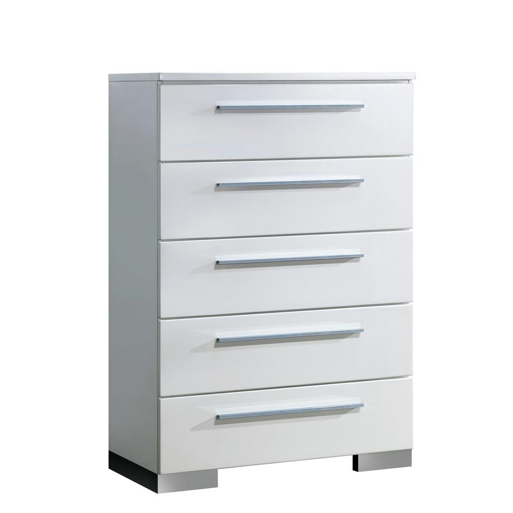 William S Home Furnishing Clementine Modern Style 5 Drawer Glossy White Chest Of Drawers Cm7201c In 2020 Wooden Chest White Chests Furniture