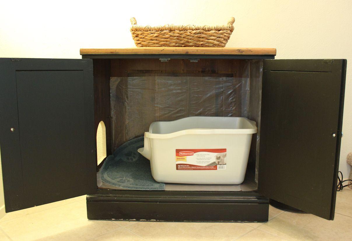 Litter Box Furniture | The Litter Box Inside, Along With A Litter Mat To Try