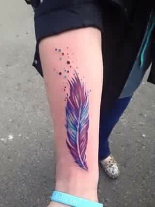 Blue And Purple Feather Tattoo Feather Tattoo Design Tattoos