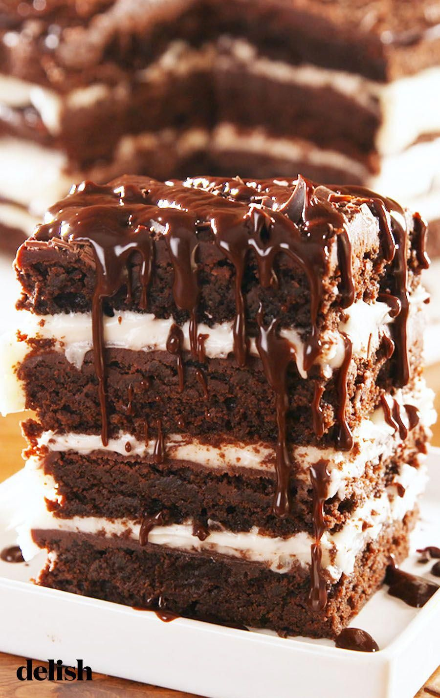 Brownie Lasagna is the most decadent dessert we've EVER made. Get the recipe at Delish.com. #recipe...