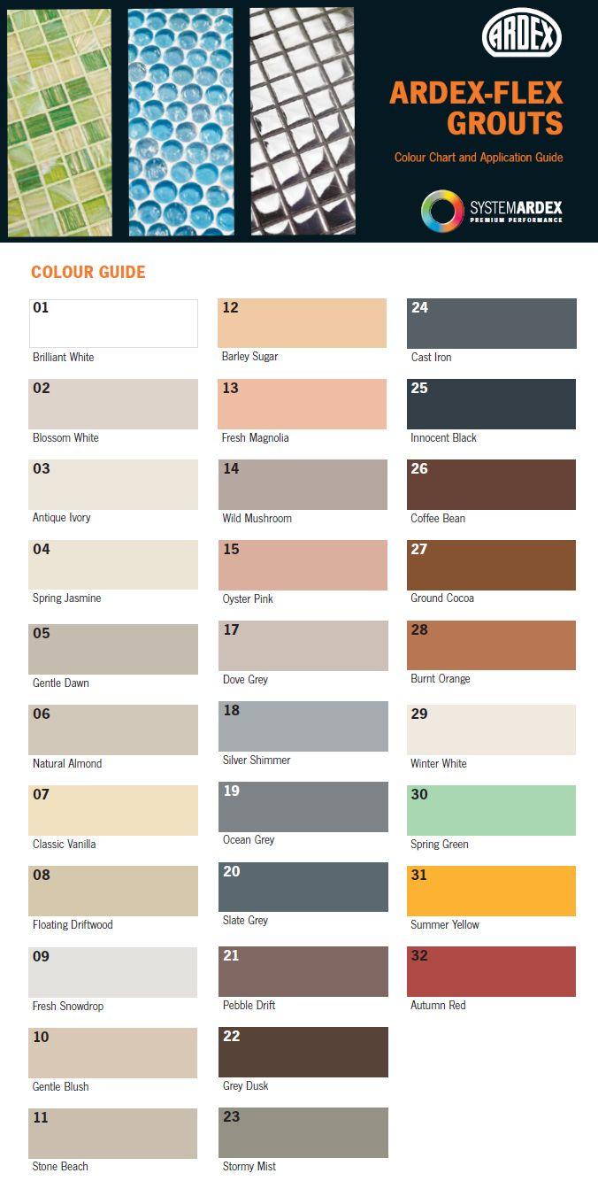 grout colour chart uk grout color