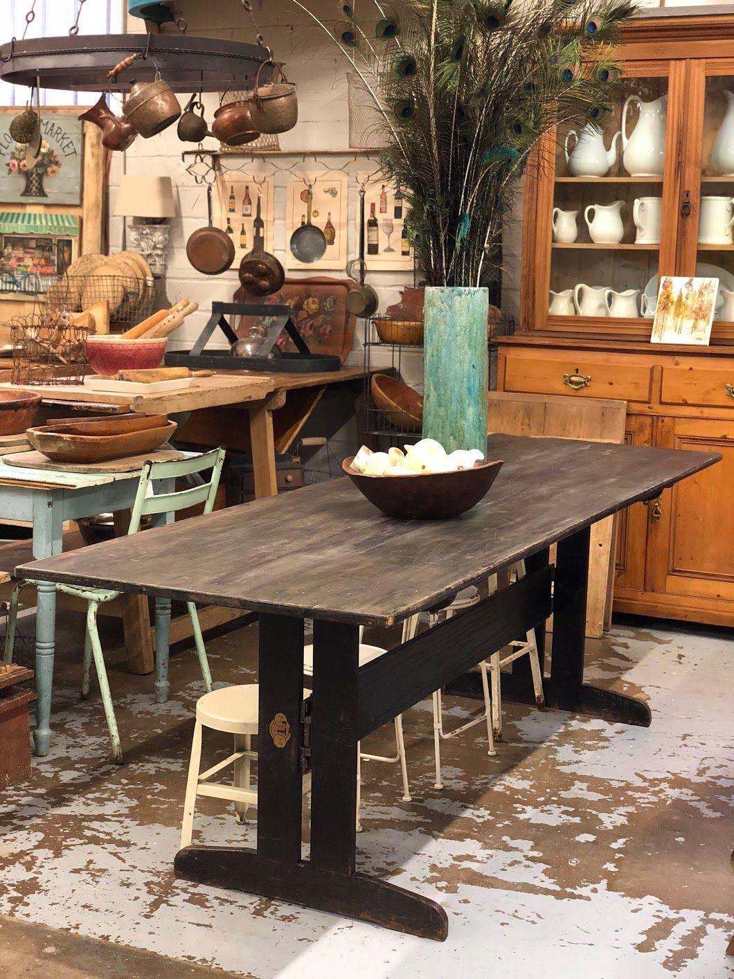 Black farmhouse or lodge harvest table 8 long x 30 wide