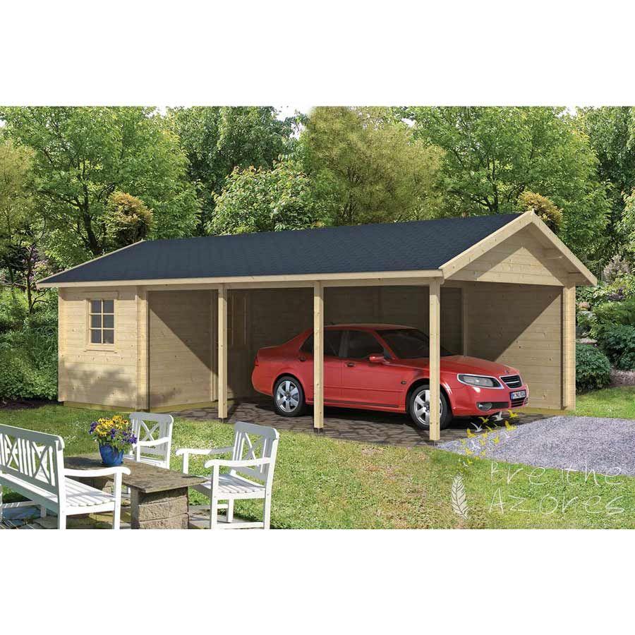 EVER Log Cabin Carport plus Storage Shed 7.7m x 4.3m