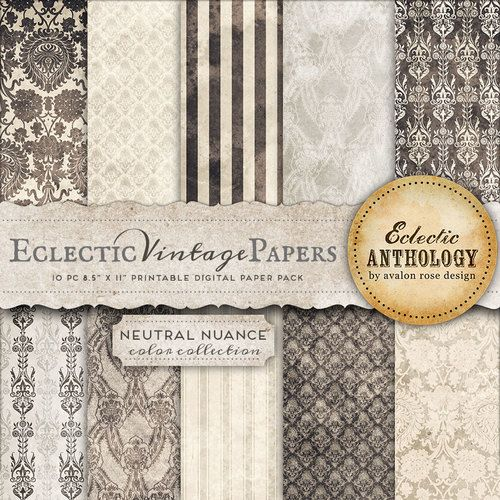 Eclectic Vintage Printable Papers - Neutral Nuance
