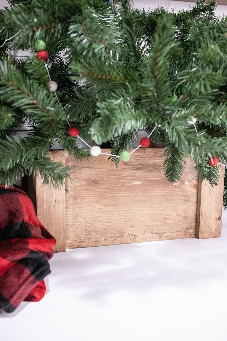 Folding Christmas Tree Collar Farmhouse Tree Box Collapsible Etsy In 2020 Tree Collar Christmas Tree Box Stand Tree Box