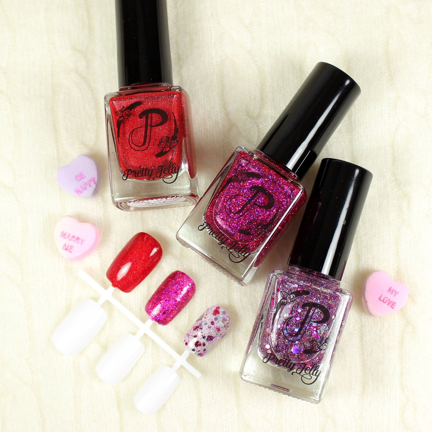 Glitter Nail Polish, Pink Red Purple Nail Lacquer, Holographic ...