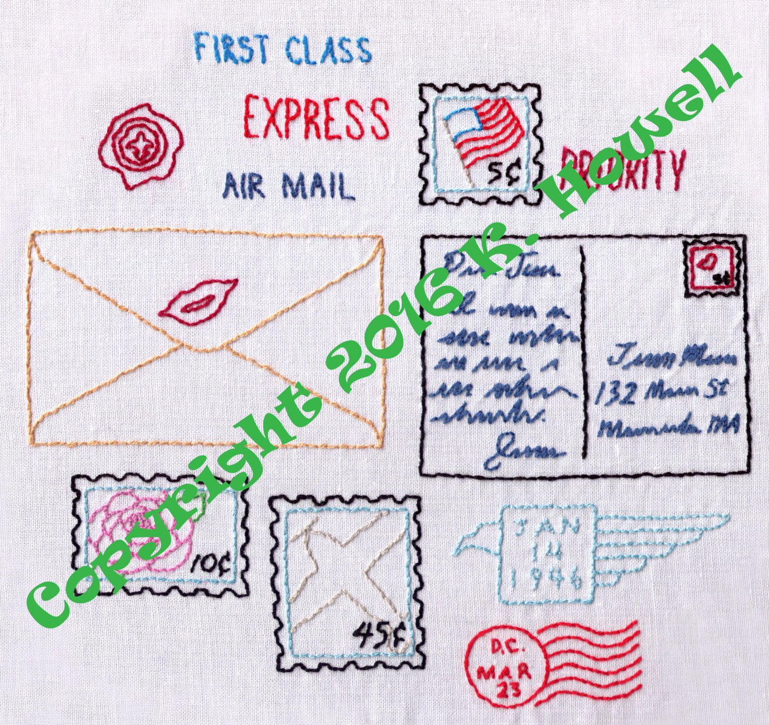 Mail Hand Embroidery Pattern Stamps Going Postal
