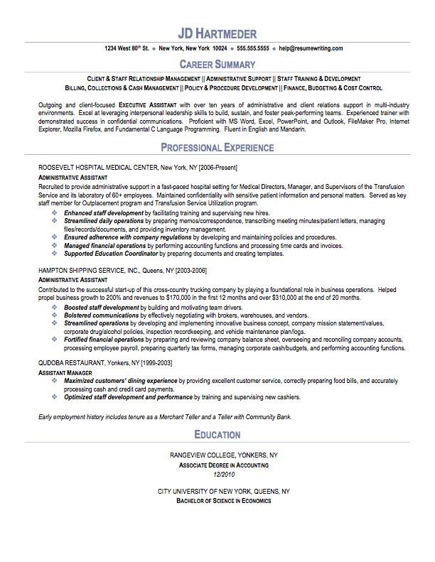 Executive Assistant Resume Sample -    wwwresumecareerinfo - administrative professional resume