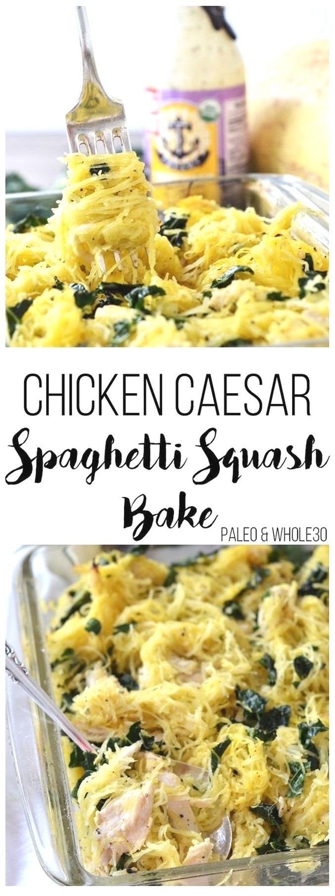 Chicken Caesar Spaghetti Squash Bake | Clean Eating Recipes #cleaneatingforbeginners