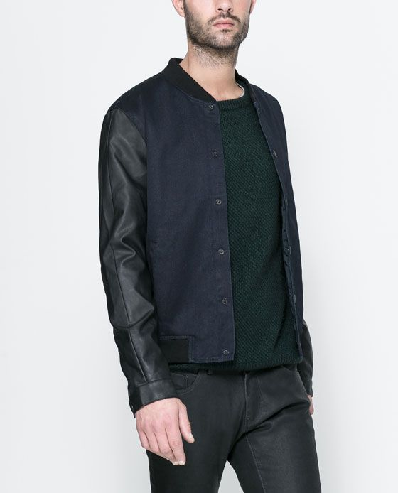 912b39da €70 ZARA - MAN - BOMBER JACKET WITH FAUX LEATHER SLEEVES | College ...