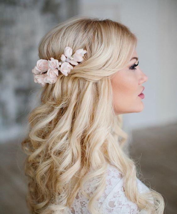 Rose Hair Piece Rose Wedding Hair Flower Rose Bridal Hair Flower Bridal Headpiece Flower Wedding Headpiece Bridal Hair Accessories Romantic Wedding Hair Hair Styles Bridal Hair Inspiration