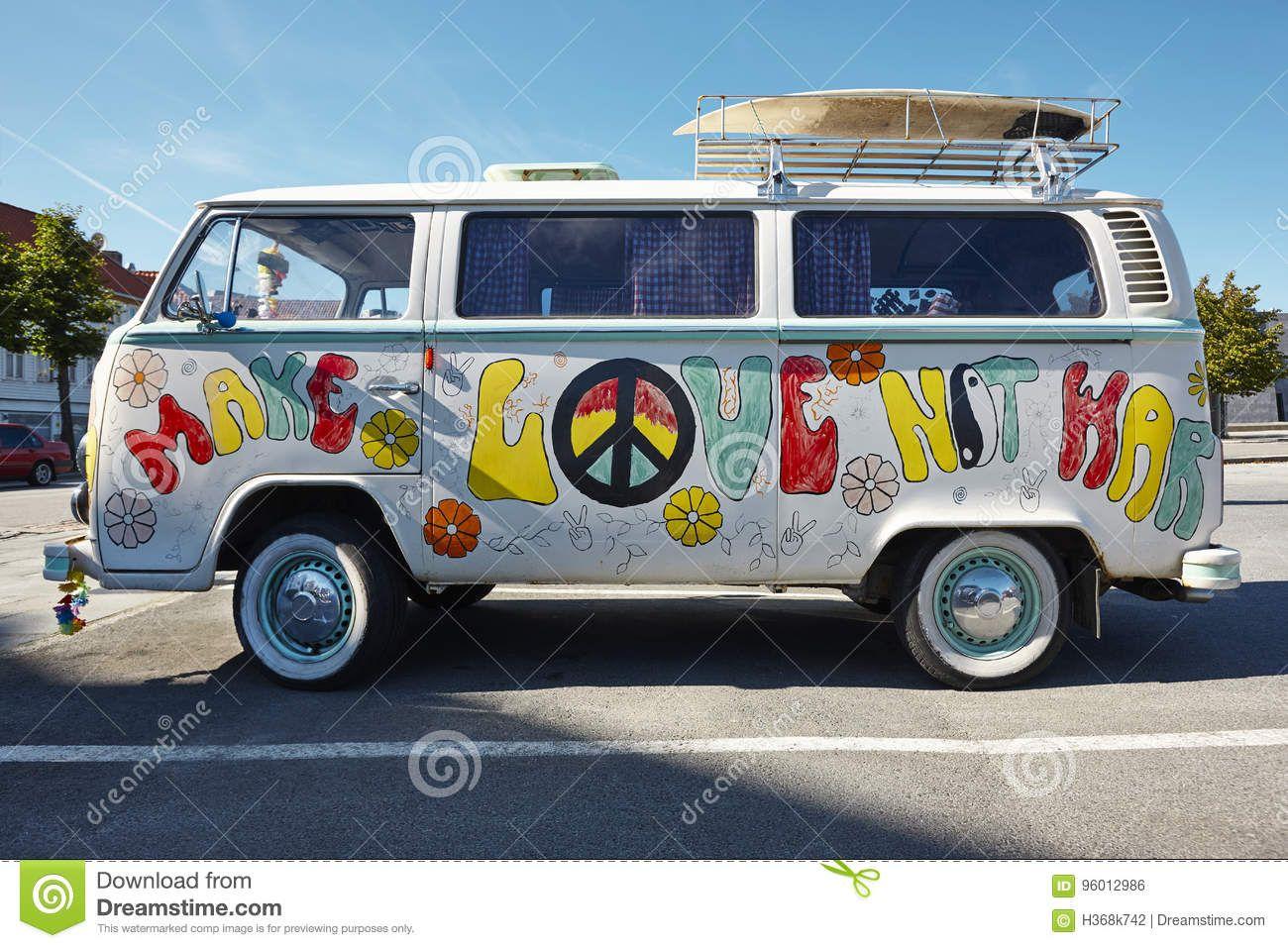 Hippie Van Retro Style Make Love Not War Psychedelic Stock Photo Image Of Surf Classic 96012986 Hippie Van Car Accessories Hippie Retro Fashion