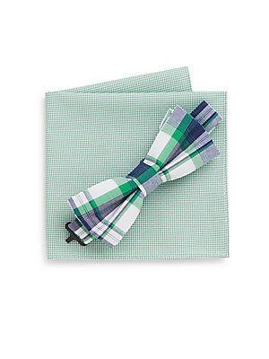 Burma Bibas Plaid Bow Tie & Micro Gingham Pocket Square - Green - Size