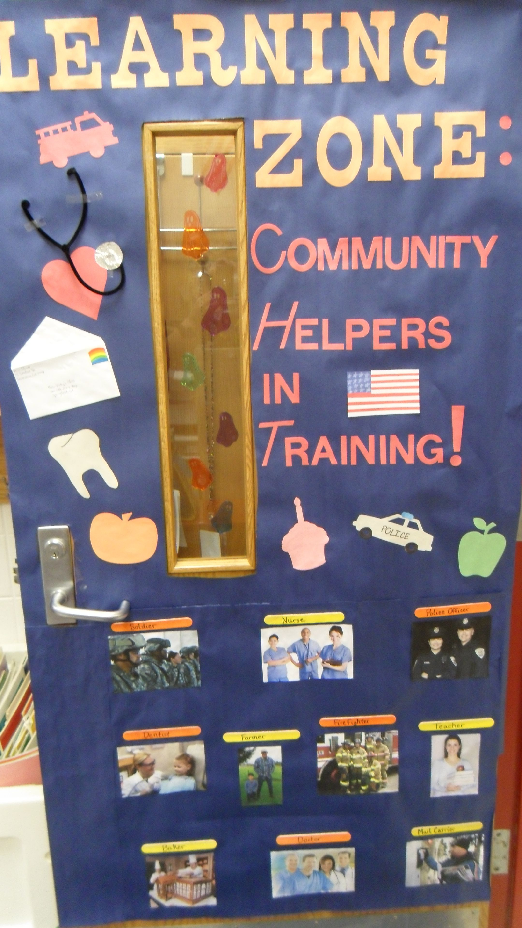 door display for a unit on community helpers social studies