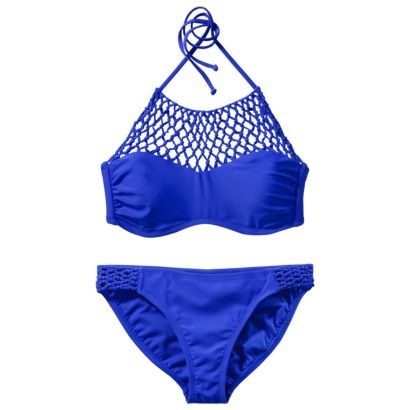 Xhilaration Juniors Braided 2 Piece Swimsuit Blue Summer Swim