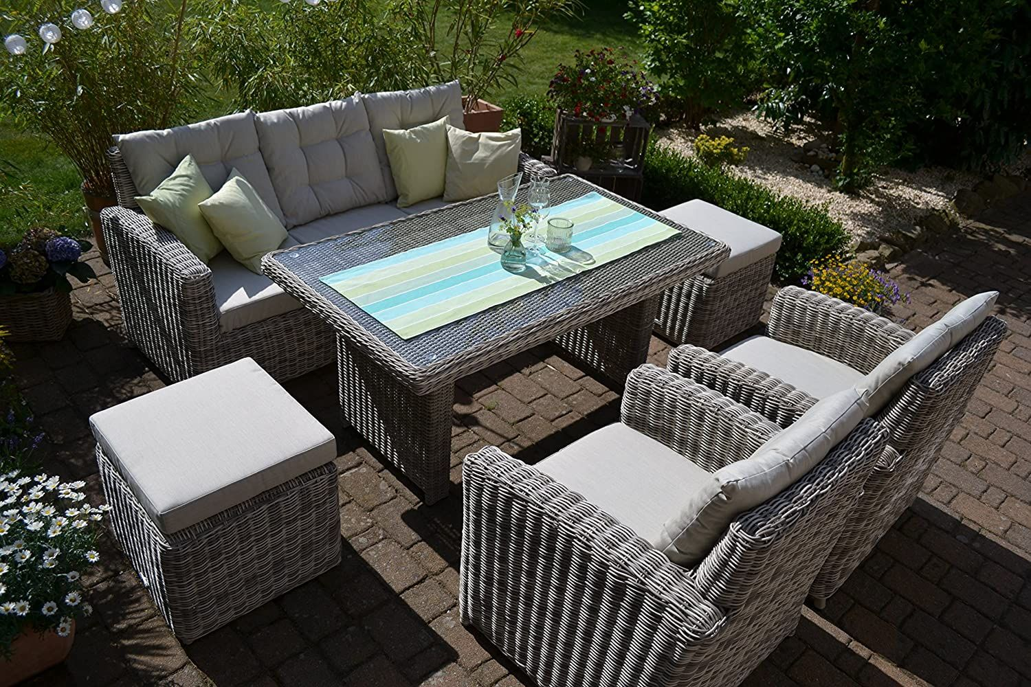 Bomey Rattan Lounge Set I Gartenmobel Set Sofa Manhattan 6 Teilig