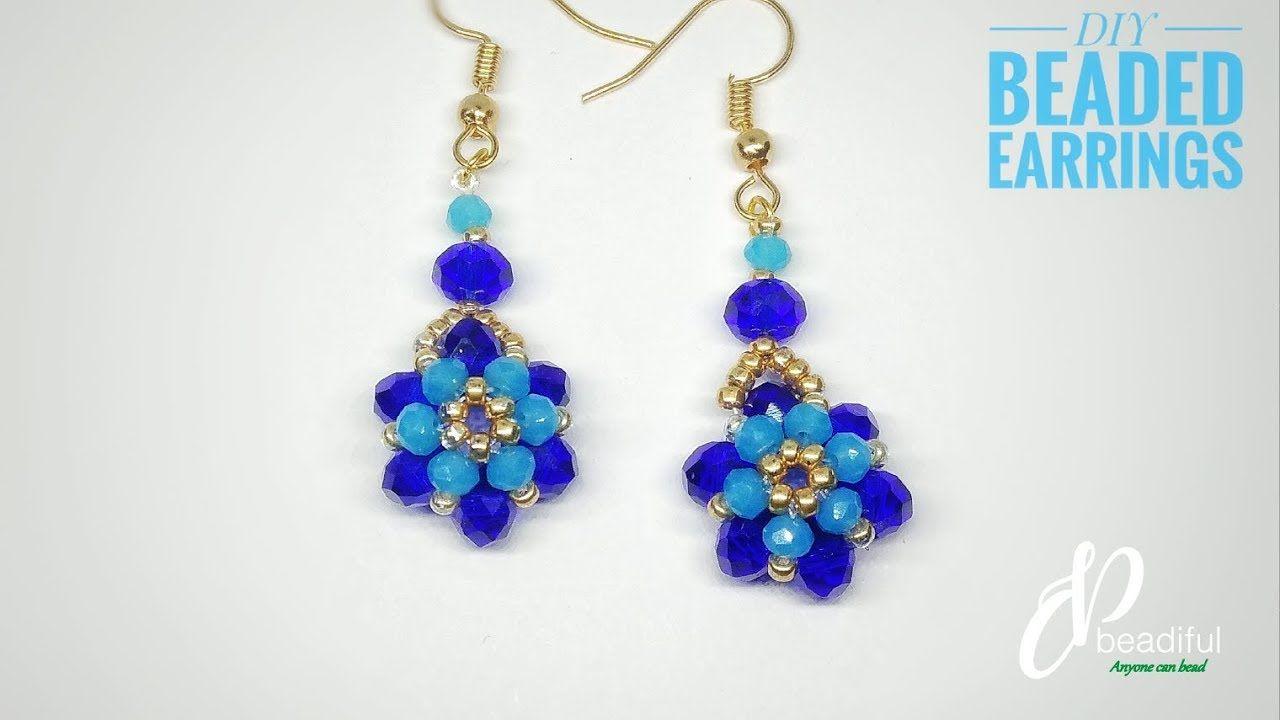Simple Beaded Flower Earrings Diy Earrings How To Make Earrings Youtube Beaded Earrings Beaded Earrings Diy Flower Earrings Diy