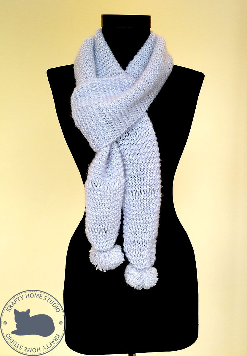 Photo of Mohair Long scarf, Gray hand knit neck accessory, Handmade scarf with pom poms, Unisex classic gift