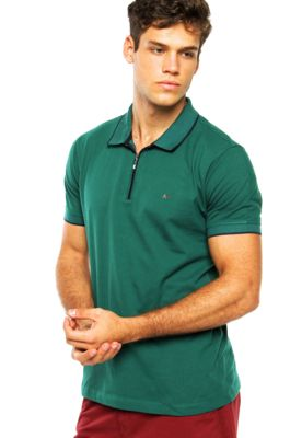 5bbca653f83 Camisa Polo Aramis Manga Curta Zíper Verde