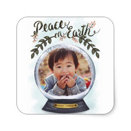 Snow Globe Peace on Earth Holidays Photo Card Square Sticker - christmas stickers xmas eve custom holiday merry christmas