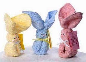 Conejos con toallas -Baby shower DIY