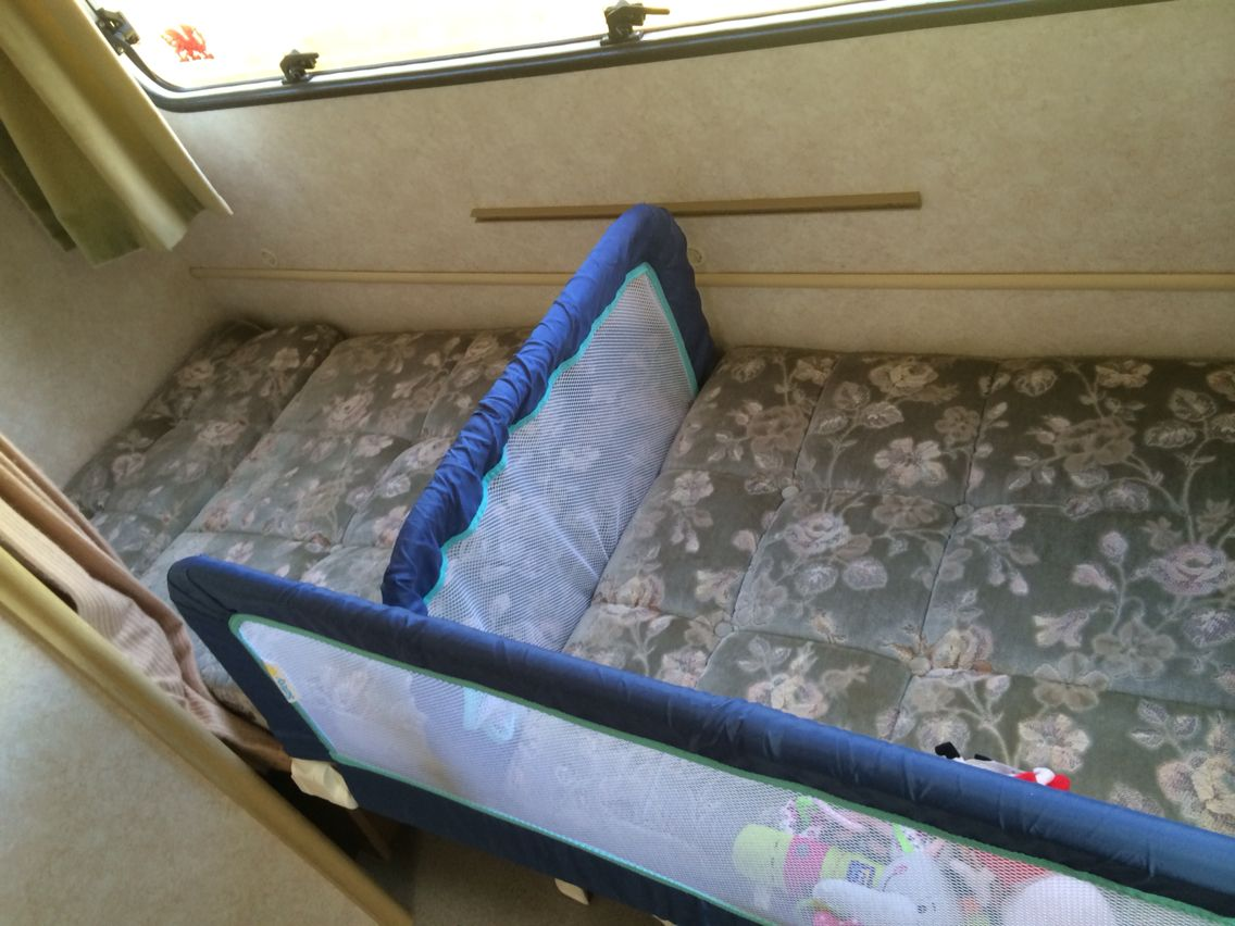 Baby bed camping - Baby Bed In The Caravan Portable Bed Guards On The Lower Bunk