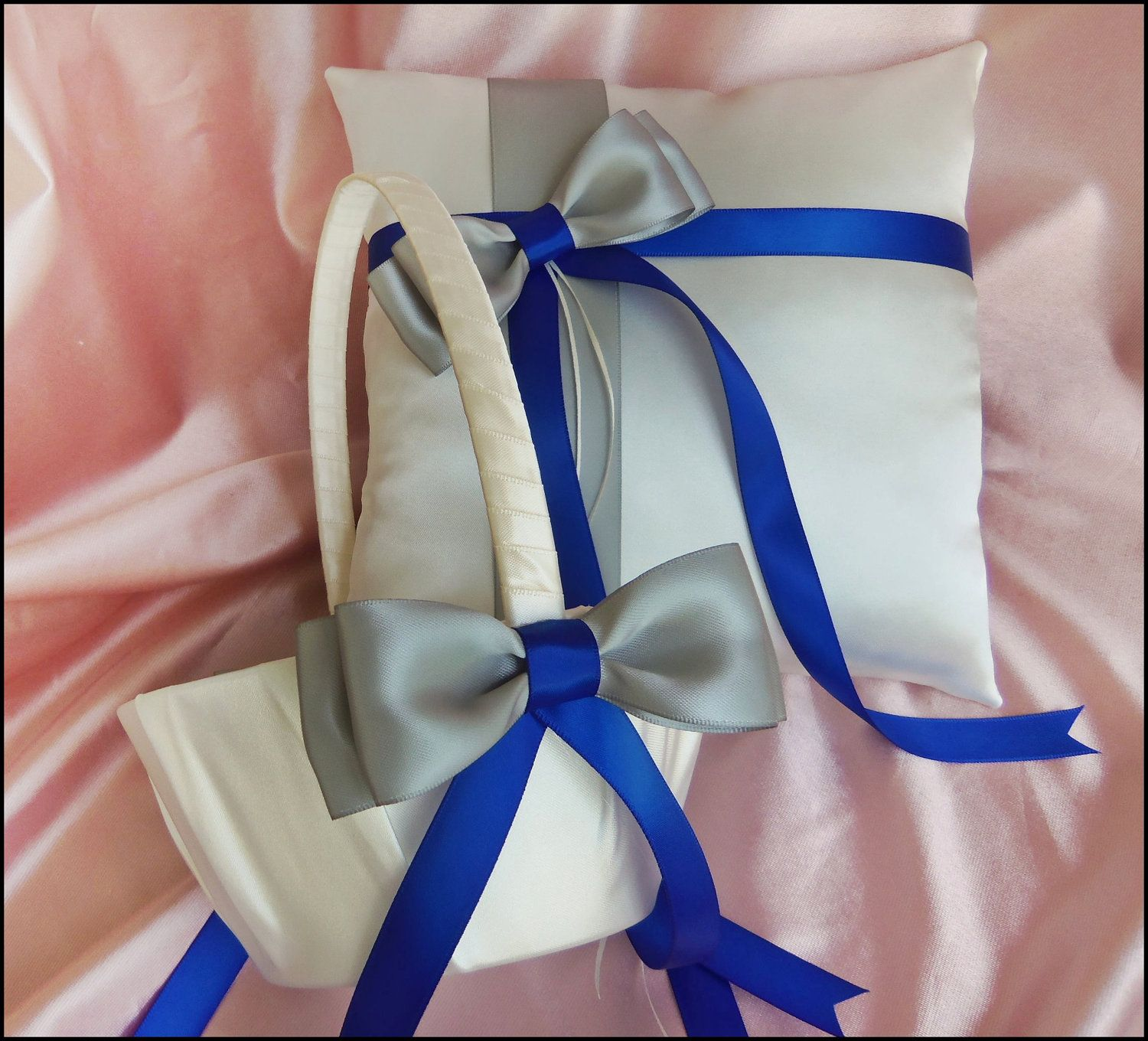 Royal Blue And Silver Grey Wedding Pillow And Basket Ring Bearer