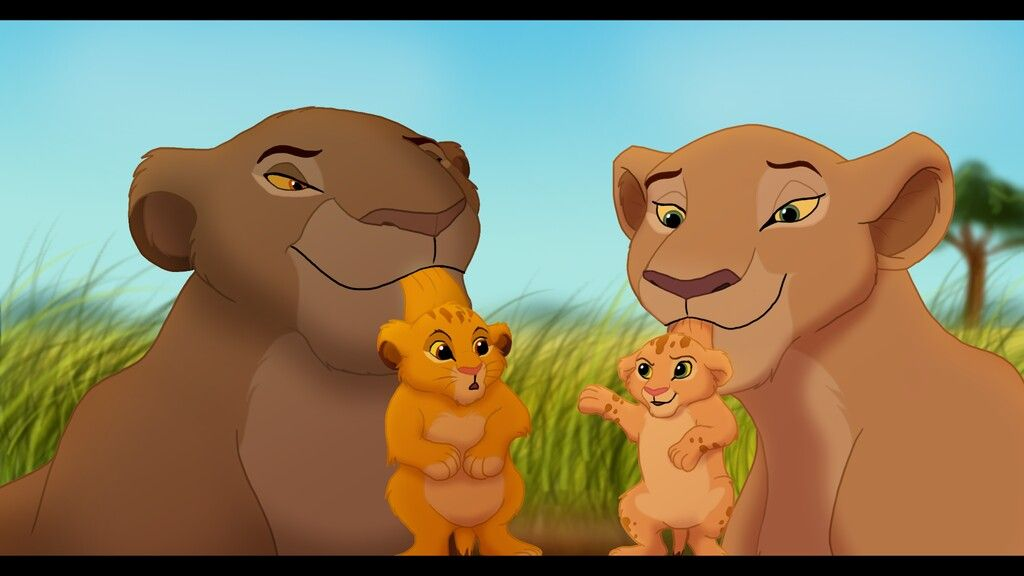 sarabi and sarafina with newborn cub simba and nala lion