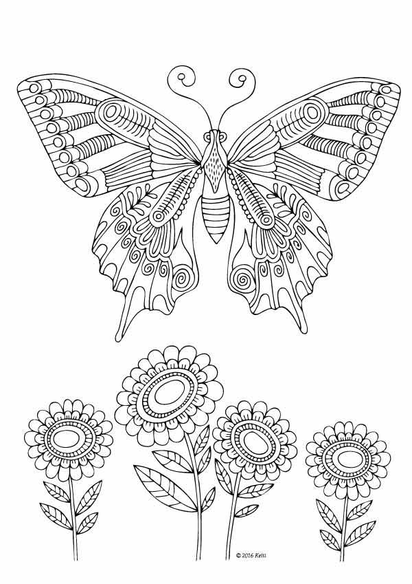 Kittens And Butterflies Coloring Book By Katerina Svozilova Http Www Amazon Com Dp 1523 Butterfly Coloring Page Insect Coloring Pages Pattern Coloring Pages