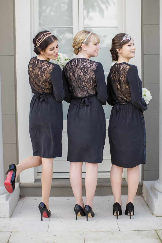 Bridesmaids wear classic black Zimmerman dresses for this