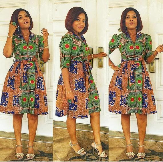 8682bf489b00 African Print Dress , Ankara ,Dashiki, Front open dress, African clothing  for women
