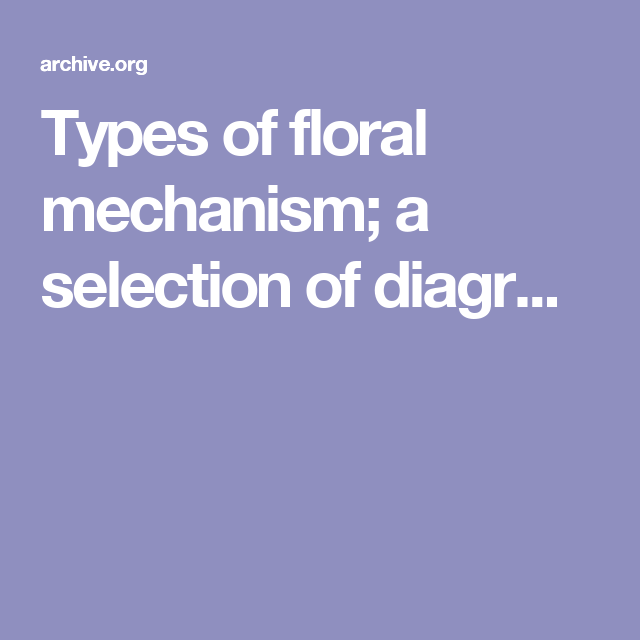 Types Of Floral Mechanism  A Selection Of Diagr